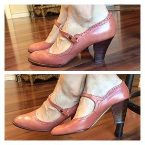 Vintage Salmon Mary Jane Pumps Anthro Heels Mauve