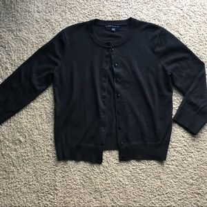 Black Cropped Button up Cardigan