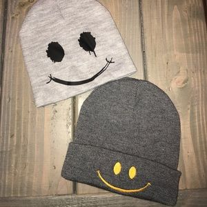 Set of 2 happy face beanies