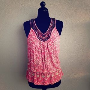 INC Beaded Pink Tank Size S