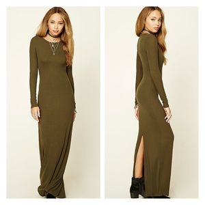 Dark olive long sleeve ribbed maxi dress