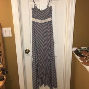 Bar III Stripe Blue Grey Maxi Dress Small S