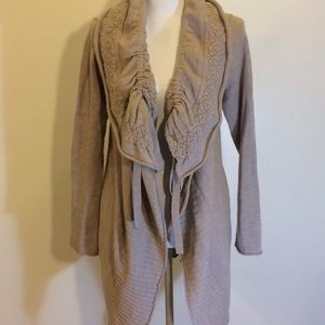Anthro Moth Shawl Neck chunky Cardigan Sweater L