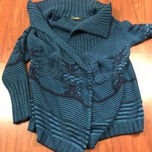 Love Stitch Open Front Cardigan Blue