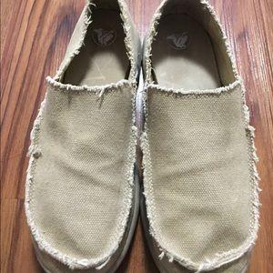 Crocs beige cloth slip on unisex  size 7m