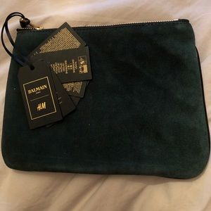 BALMAIN x H&M Green suede/ Blk leather pouch - NWT