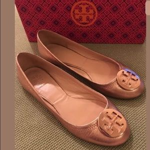 Tory Burch RARE Rose Gold Reva Flats Sz 8C w/ box