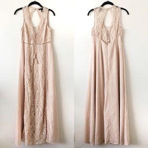Natural Floral Lace Maxi Dress