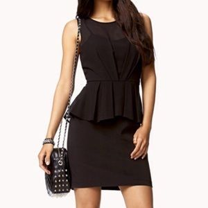 Forever 21 black sleeveless chiffon peplum dress