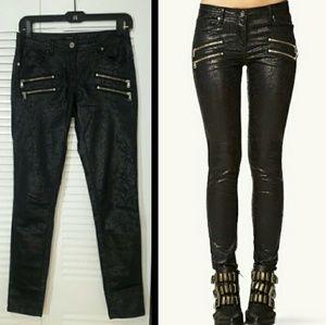 Edgy Black Skinny Stretch Zipper Moto Pants