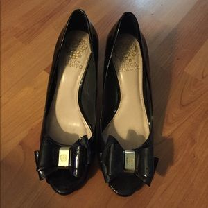 Vince Camuto peep toe patent wedge, size 6 1/2.