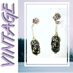 Vintage rhinestone dangle earrings Pierced