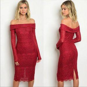 Burgundy off the shoulder long sleeve lace dress
