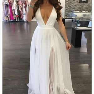 White Maxi dress with Chris cross back
