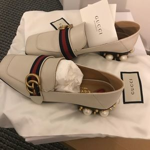 brand new gucci pearl loafer