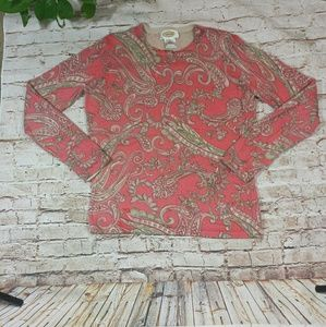 NWOT Talbots Pink Paisley Cashmere Sweater