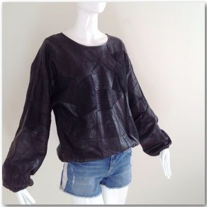 Vintage 80s Black Genuine Leather Patchwork Top