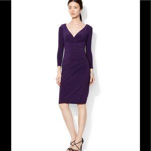 Lauren by RL Faux Plum Wrap Dress W/ 3/4 Sleeves