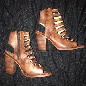 Leather Ribbed Wedges