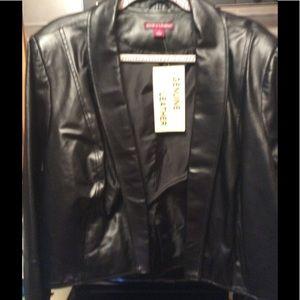 Leather Plus Size Jacket Black