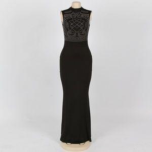 Sexy Sleeveless Geometric Rhinestone Maxi Dress