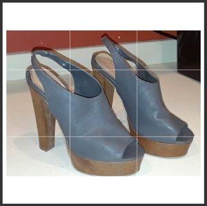 Grey, Peep toe sling-back heels