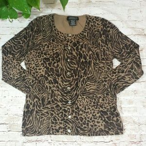 Cable& Gauge Animal Print Cartigan Sweater