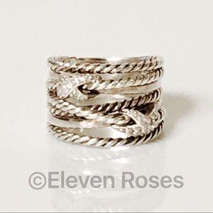 David Yurman Sterling X Diamond Crossover Ring