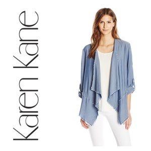 Karen Kane Roll-Sleeve Drape Jacket Color Chambray