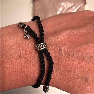 DAVID YURMAN - black silk cord & silver bracelet