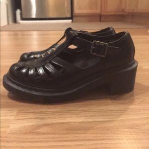 Dr. Martens black T strap heels 8.5