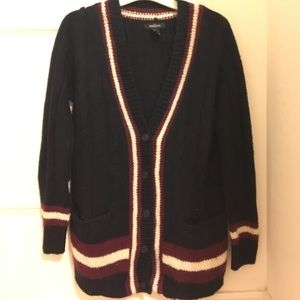 Blue and burgundy cardigan