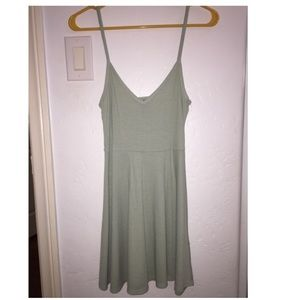 Light olive green v Neck dress