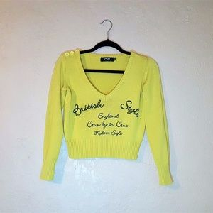 Yellow Woman's Cropped Top Sweater with Embroidery