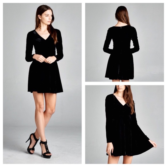 9243654af64 Honey Punch Dresses | Sale Velvet Long Sleeve Fit Flare Dress | Poshmark