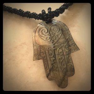 Gorgeous goddess filigree hands pendant