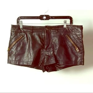 Black Faux leather Zip Button Mini Shorts
