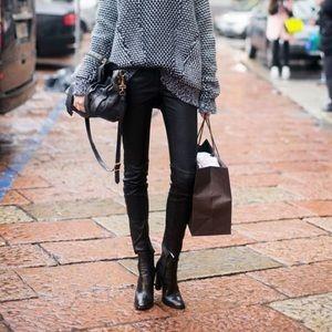 Vegan Leather Ankle Zip Black Skinny Jeggings