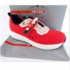 New PRADA Size 41 Red Runner White Trim Sneakers