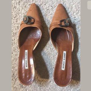 Light Brown Kitten Heel Slip On Shoes