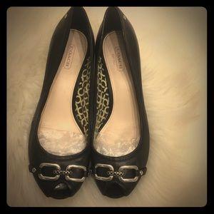 Coach black leather peep toe wedges