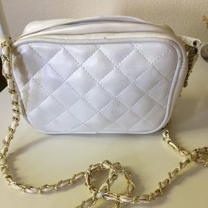 White small matelasse bag