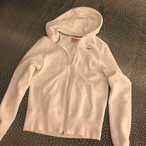Nike white full zip hoodie - size XS