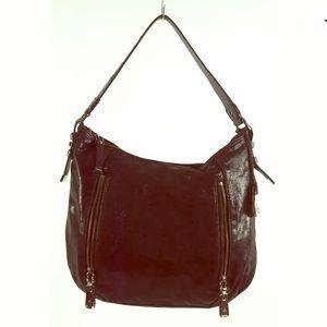 Cole Haan Shoulder Bag Black Crackled Leather