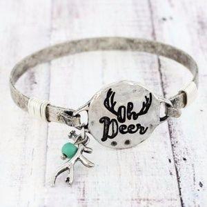Burnished Silvertone 'Oh Deer' Bracelet