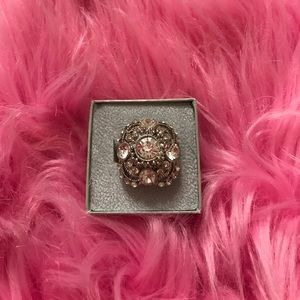 Silver bling fashion ring