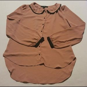 Pink-Tan Button-Up Blouse W/ Black Accents