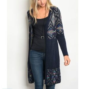 Navy long sweater cardigan