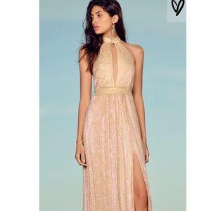 Gold Maxi dress..High neck with leg slit
