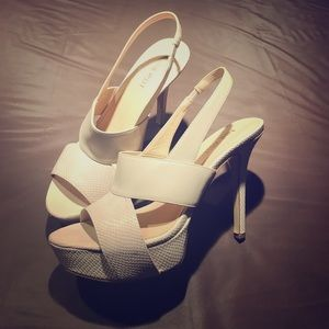 Nine West off white/Beige platform high heels